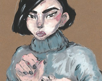 Grumpy Girl- print