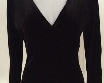 Black stretch velvet crossed bodice/bell sleeve top