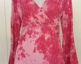Tie dye stretch fabric/crossed bodice top/long bell sleeves