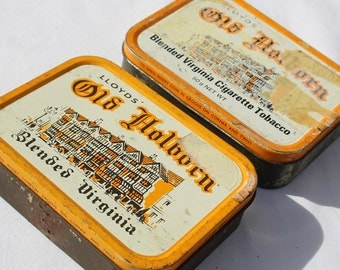 Two Mid Century Vintage Holborn Tobacco Tins