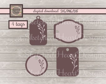 SALE 30% off Tag with leaves SVGs four pack, Png Dxf Digital cutting file, Gift tags, Labels, Clipart, Name tags, Diecutter instant download
