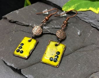 SOLD- Torch fired yellow-royal blue enamel copper dangle earrings copper jewellery  hand crafted  boho bohemian copper earrings Gift for Her