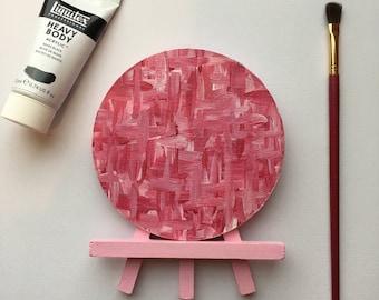 Original Art, Miniature Art, Mini Painting, Abstract Painting, Abstract Art, Pink Art, Original Painting, Round Art