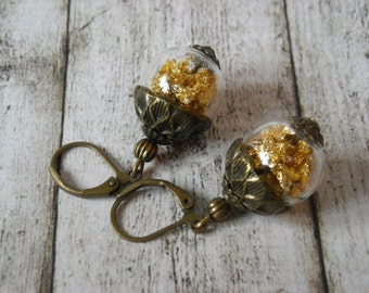 Earrings crystal ball gold