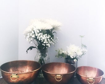 Vintage Copper Mixing Bowls Set of 3 with Brass Rings