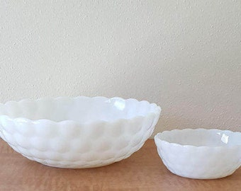 Amazing Milk Glass Bubble Bowl Set  by Anchor Hocking from a Mid Century Kitchen