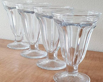 4 Vintage Glass Ice Cream Cups~Libbey Pedestal Ice Cream Cups~4 Glass Parfait Glasses~4 Glass Sherbet Cups