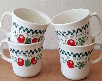 Mug Set~Corelle Farm Fresh 4 Corning Mugs~Beige Decor~Red and Green Check on Ivory~Made in the USA