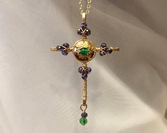 Crystal cross-purple cross-wire cross-wire wrapped beaded cross necklace-beaded crucifix-gold cross-etruscan cross-spiritual necklace