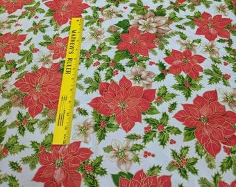 Holiday Editions Poinsettias Cotton Fabric from Fabri-Quilt