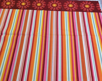 Stripes with Flower Border Cotton Fabric