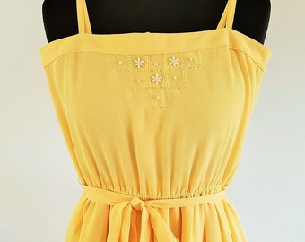 1970s vintage Radley yellow dress - pretty hand beaded detail - UK Size 10