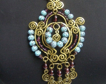 Huge Glass Beaded Etruscan Style Necklace. 1970's.
