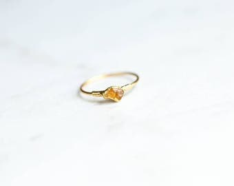 Rough Citrine Ring, Raw Stone Ring, November Birthstone Ring, Electroformed Ring, Raw Citrine Ring, Raw Gemstone Ring, Stacking Ring, Petite