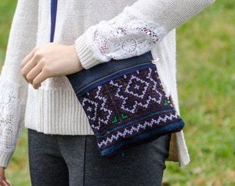 Cross Body Bag Pattern - Flowers - Cloth Purse - Crossbody Purse - Tote Bag - Clutch Bag - Small Purse - Hemp Bag