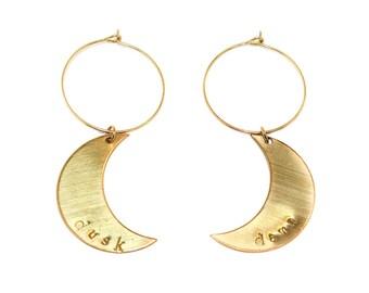 Dusk Til Dawn - hand stamped moon hoop earrings