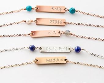 Choker Bar Necklace, Skinny Bar Necklace, Personalized Bar Necklace, Engraved Bar Necklace, Initial Necklace, Silver, Gold,Rose Gold ZN00161