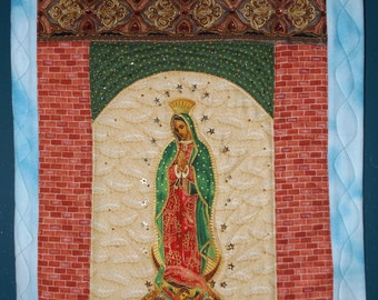 Our Lady of Guadalupe Shrine Quilted Wall Hanging Retablo