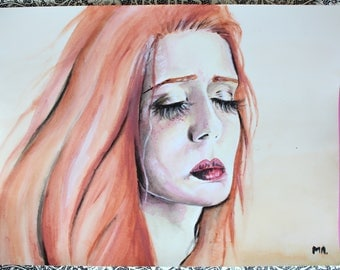 "Watercolor original portrait ""Never Satisfied"""