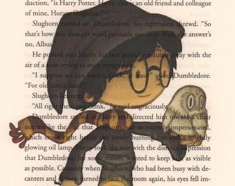 Harry Potter Art Print, Harry Potter Book Page Art, Print on Book Page, Harry Potter Nursery