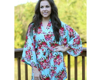 Floral Bridesmaid Robes, Bridesmaid Robe, Mint Floral Robe, Bride Robe, Cotton Floral Monogrammed Robes, Wedding Gift, Mother of the Bride