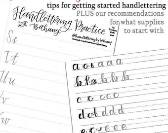 Handlettering 101 Practice Sheets & Tips Bundle PDF