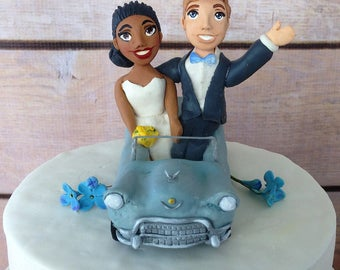 Personalized Cadillac car wedding cake topper in clay