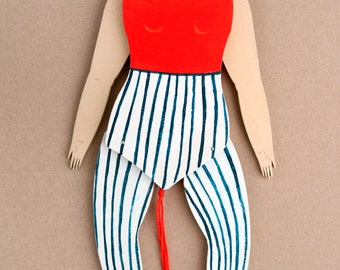 Handcrafted wooden puppet: Elsie the circus performer