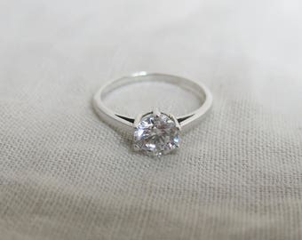 Swarovski crystal and sterling silver solitaire ring.