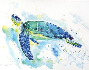 Sea Turtle Watercolour Print, A4 print in blues yellows and greens. Splash effect. Sea turtle wall art, Watercolour turtle, Sea Theme Decor