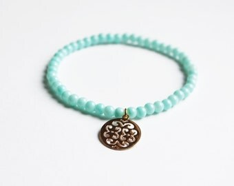 Light Blue Bohemian Charm Bracelet - Boho Jewellery - Yoga Gift