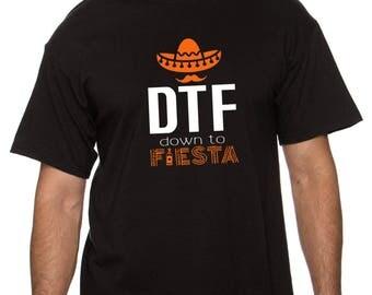 down to fiesta, dtf, down to fiesta shirt, mustache party shirt, cinco de mayo shirt, bachelor party shirts (white/orange design)