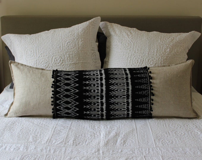 LONG Fair Trade Black Ikat Back Strap Woven Textile + Natural Washed Eco Friendly Linen Cushion with Pom-pom trim