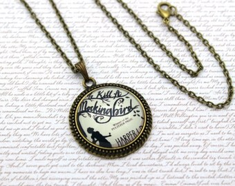 Harper Lee, To Kill a Mockingbird Book Cover, Book Necklace or Keychain, Keyring
