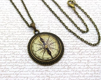 Vintage Compass, Travel Necklace or Keychain, Keyring
