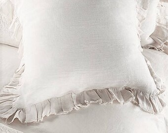 Ruffled linen shams.Set of 2 shams. Frayed ruffle pillowcases. Standard pillowcases.Queen pillowcases.King pillowcases.Baltic linen bedding