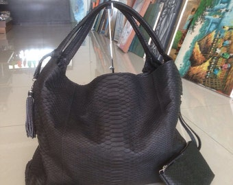 Python Bag, Python Handbag, Black Handbag, Snakeskin Bag, Python Purse, Black Purse, Snake Skin Bag, Leather Hobo Bag, Black Leather Handbag