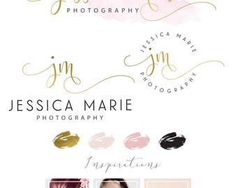 Watercolour Logo Design, Custom Logo Design, Rose gold Branding Kit, Photography Logo Branding Kit, Logo Branding Package