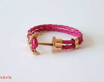 Strap anchor pink / gold braided
