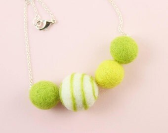 Felted Pompom Necklace | Cute Green Necklace | Chucky Felt Necklace For Girls | Eco Friendly Necklace | Cute Jewelry Gift for Girls