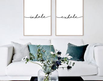 Yoga Wall Art inhale exhale print yoga wall art wall prints inhale
