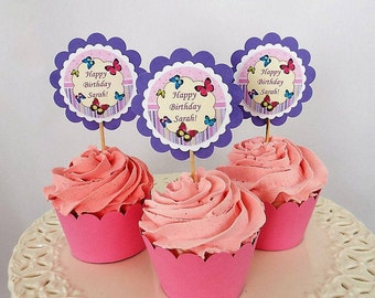 Personalized birthday cupcake toppers   12 Party favors, Girl birthday decorations, Girl pink cupcake toppers, Birthday party decor for kids