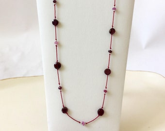 garnet necklace | coin garnets, pink rubies, sterling silver, red silk
