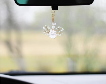 Driver's Angel, Guardian Angel, Rearview Mirror Car Charm, Rock Crystal Charm, Gemstone Charm, Hanging Angel, Car Accessory, Car Decoration