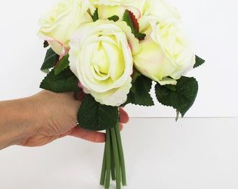 Creamy Silk Roses Bouquet Artificial Silk Flowers Bouquets 7 blossoms Green Leaves Flower Wedding Bouquets Home Party Decoration Decor