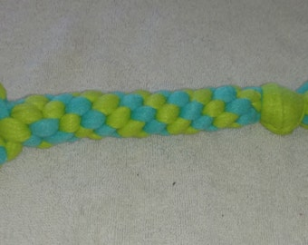 Fleece dog toy-dog tug toy-with chuckit ball in lime green and aqua