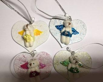 bear angels on hanging heart, cute gift idea