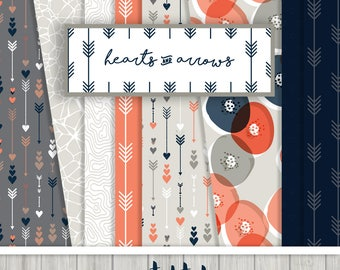 Hearts and Arrows Digital Paper Collection Set of { 14 } Digital Papers in Navy, Coral and Greige