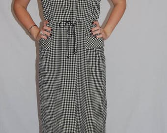 1990s Casual Gingham Dress