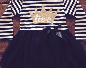 Second birthday outfit, 2nd birthday dress, black tutu dress with gold, cake smash outfit, tiara crown, dress for girls second birthday